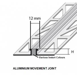 Aluminium Movement Joint Various Heights and Colour Inserts; 2.5 LM