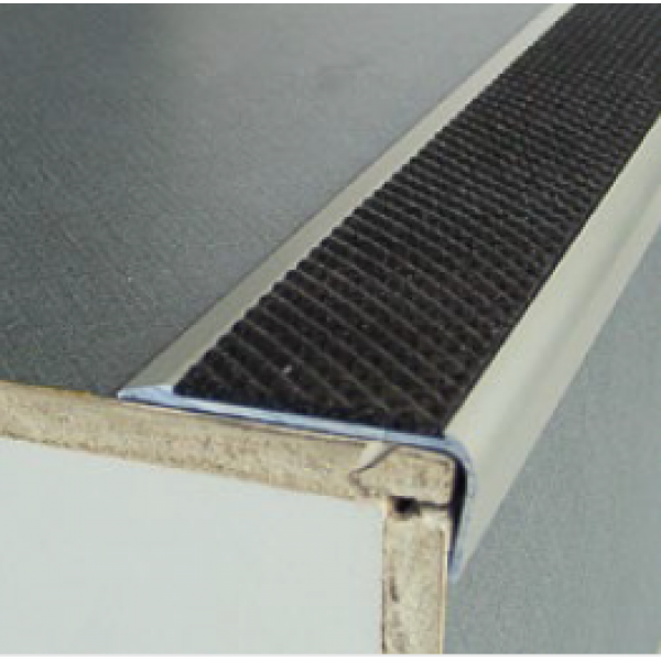 Aluminium Anodised Stair Nosing with 1 x 43 mm insert; 2.5LM AA122