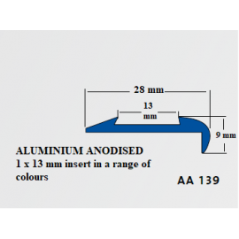 Aluminium Anodised Stair Nosing 2.5 LM with 13 mm insert AA139
