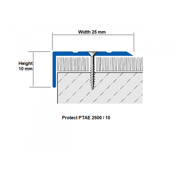 Aluminium Stair Nosing for Epoxy Steps - PTAE 25x10 mm; 2.7 LM