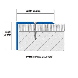 Aluminium Stair Nosing PTAE 25x20 mm; 2.7 LM