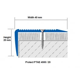 Aluminium Stair Nosing PTAE 40x20 mm; 2.7 LM