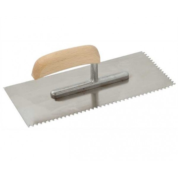 """11"""" / 28 cm Notched Trowel V-Shaped Tooth Size 3 mm"""